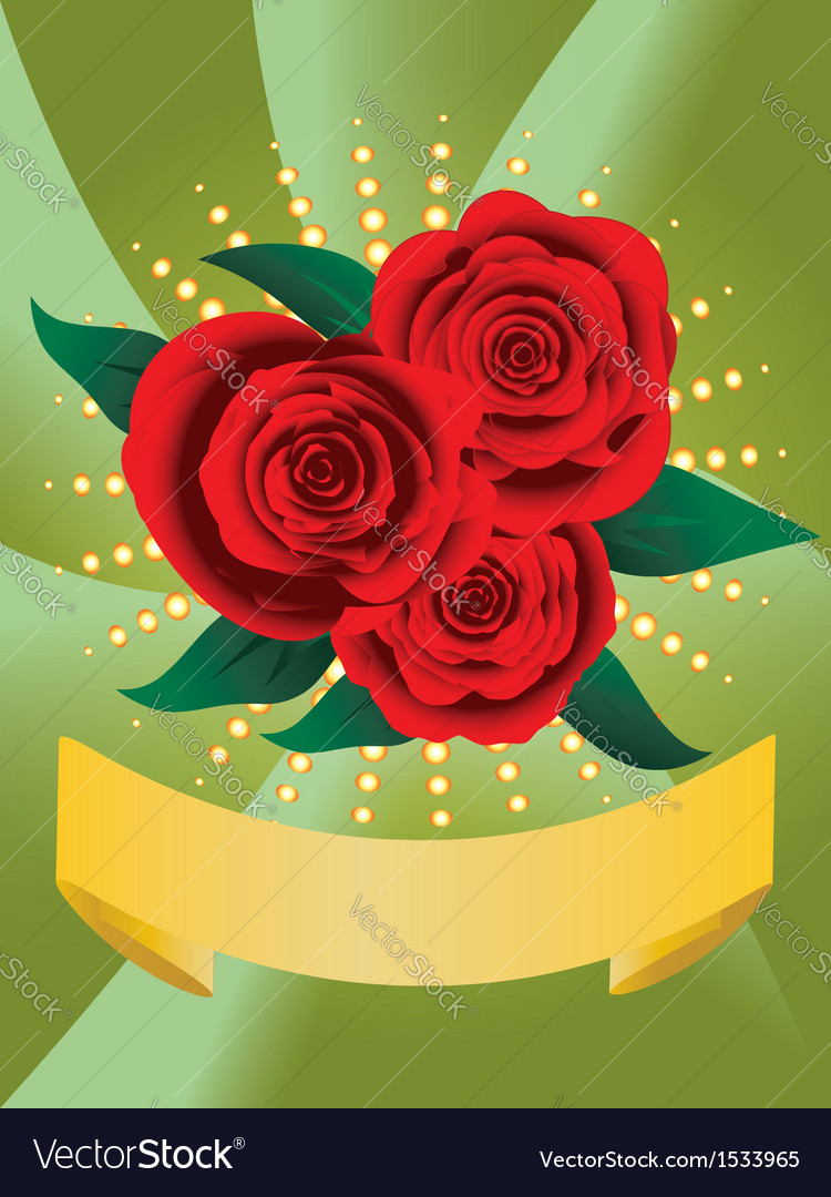Card with red roses vector   Price: 1 Credit (USD $1)