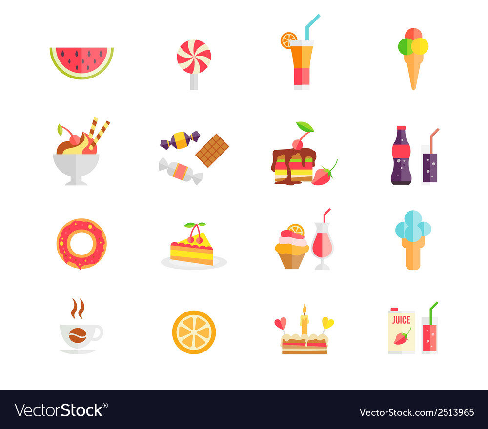 Set of colorful sweets desserts and cakes icons vector | Price: 1 Credit (USD $1)
