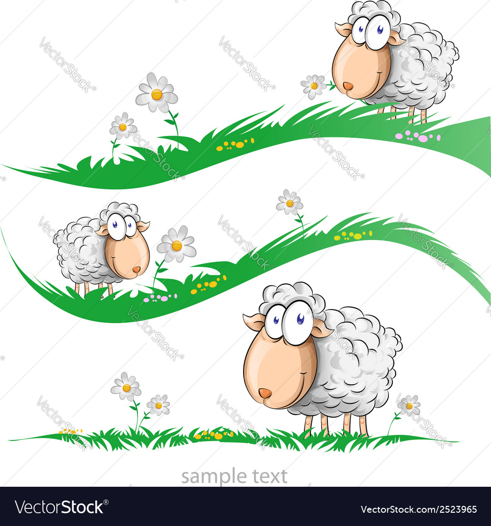 Sheep cartoon set on meadow vector | Price: 1 Credit (USD $1)