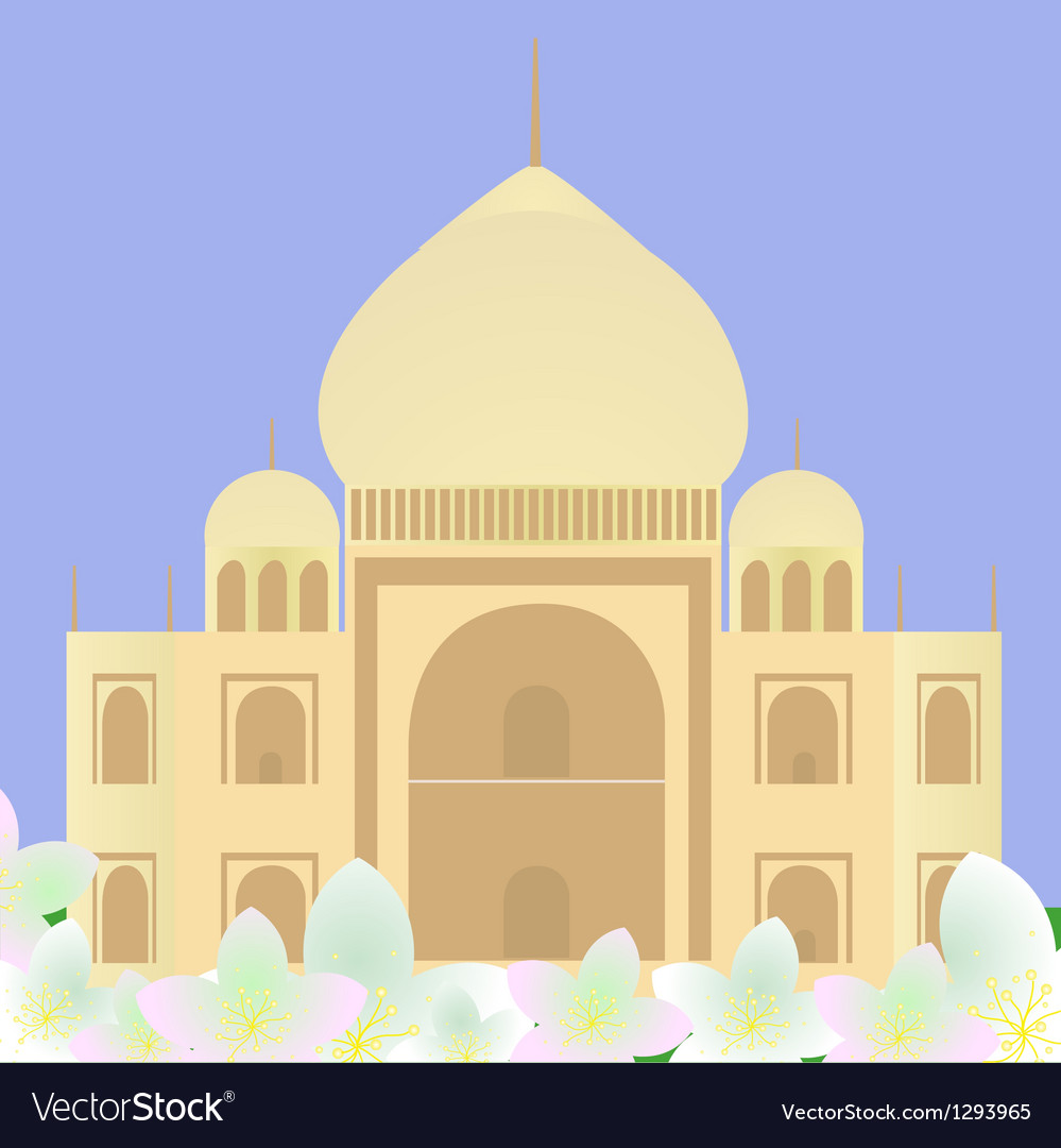 Taj mahal with lotuses vector | Price: 1 Credit (USD $1)