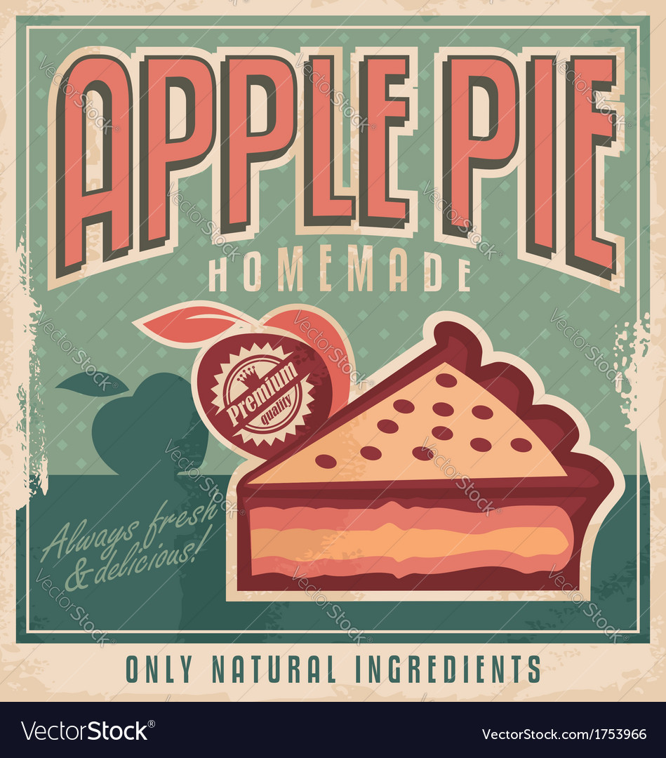 Apple pie vintage poster design vector | Price: 1 Credit (USD $1)