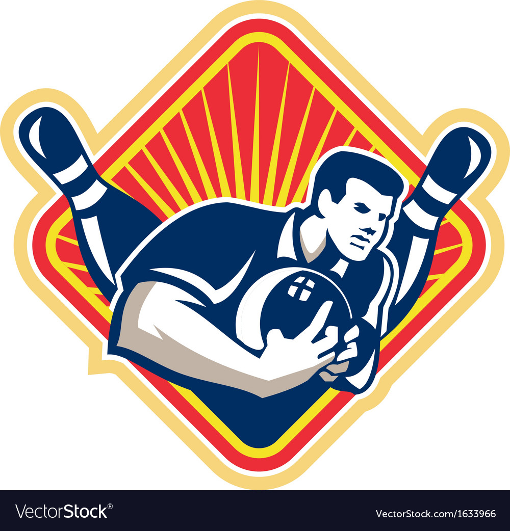 Bowler pose bowling ball pins retro vector | Price: 1 Credit (USD $1)