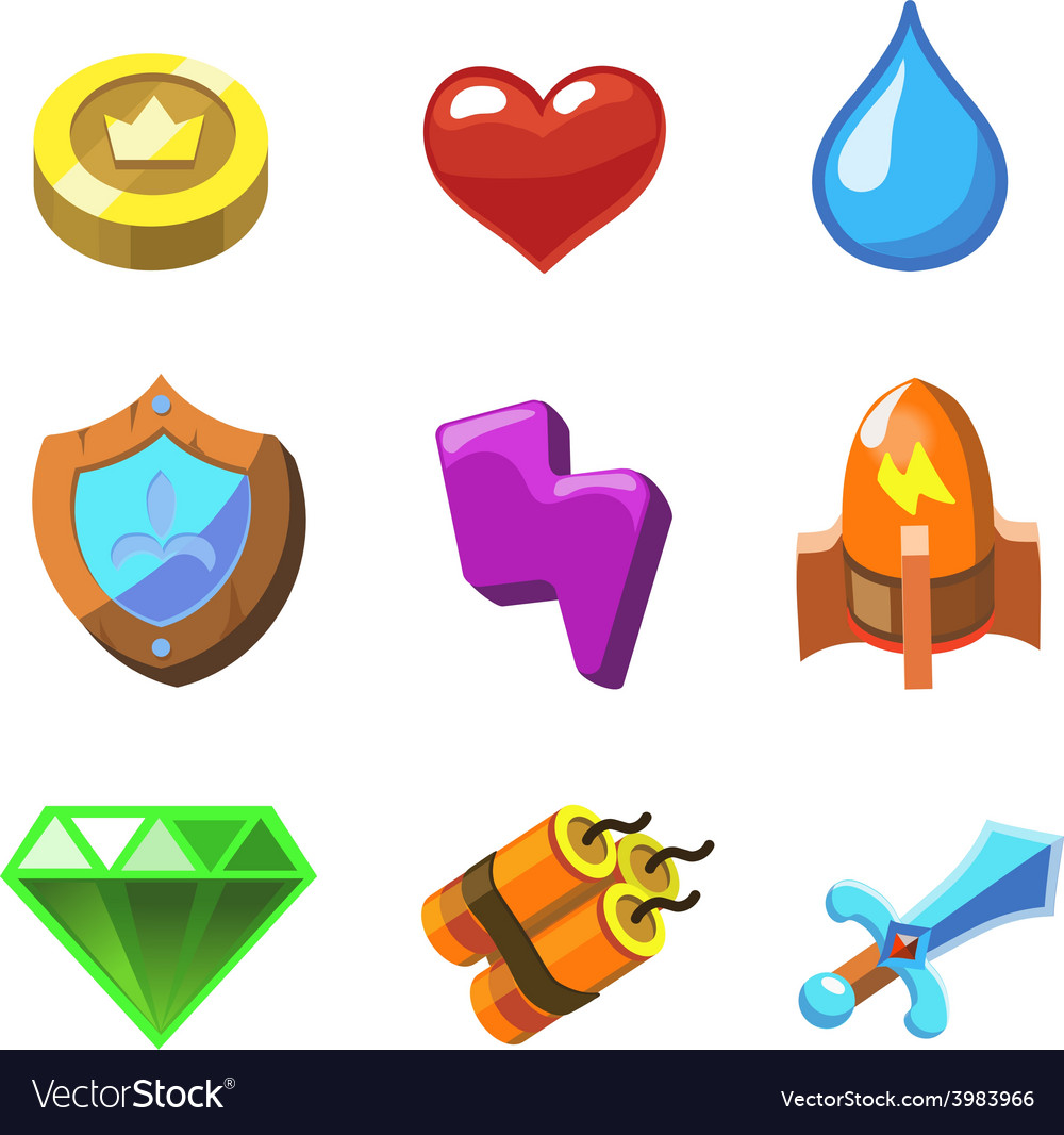 Cartoon icons for game user interface set vector | Price: 1 Credit (USD $1)