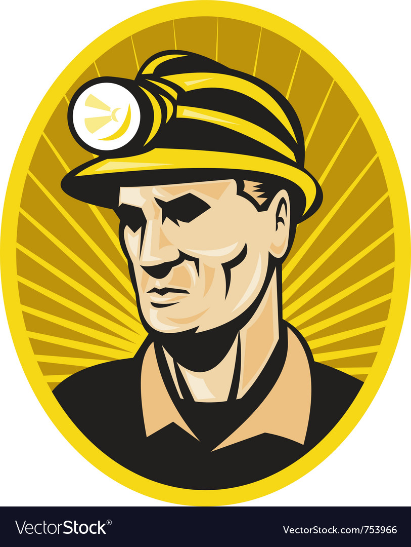 Coal miner with hardhat vector | Price: 1 Credit (USD $1)