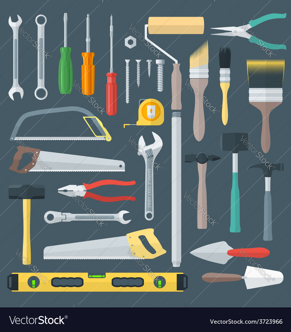 Color flat style various house remodel instruments vector | Price: 1 Credit (USD $1)