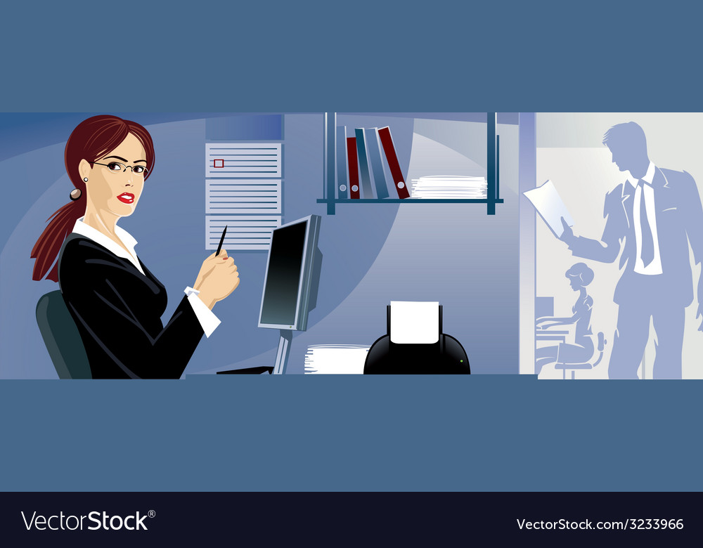 The girl on work at office vector | Price: 1 Credit (USD $1)