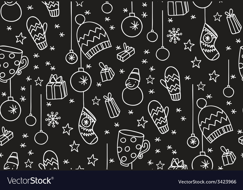 Hand drawn new year seamless pattern blackboard vector | Price: 1 Credit (USD $1)