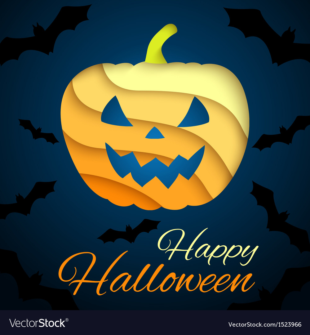 Happy halloween card paper pumpkin on dark vector | Price: 1 Credit (USD $1)