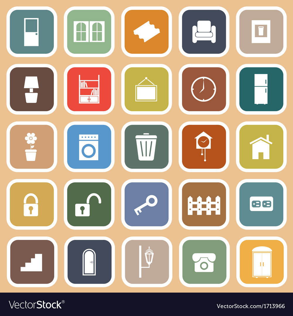 House related flat icons on orange background vector | Price: 1 Credit (USD $1)