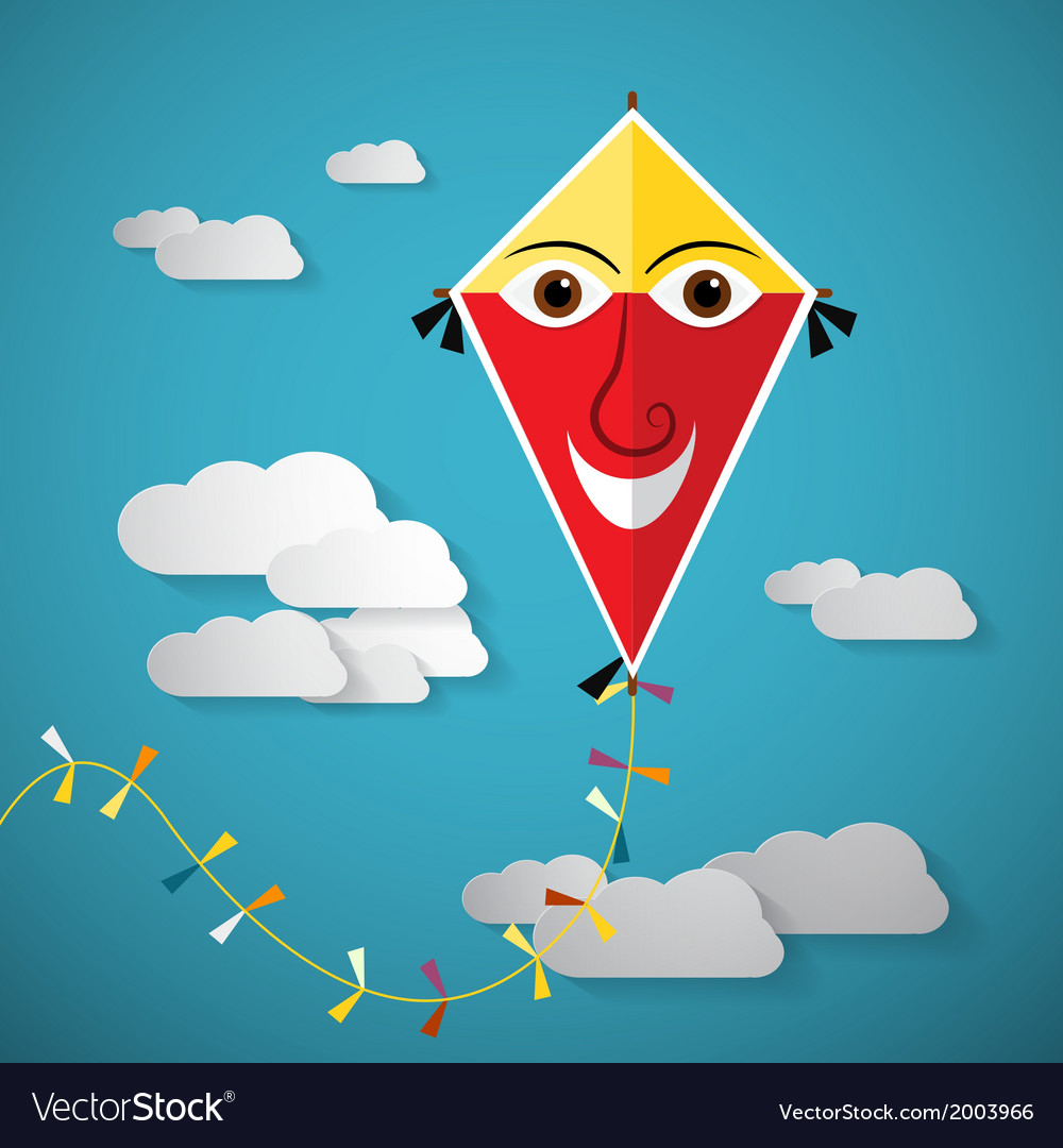 Paper kite on sky with clouds - vector   Price: 1 Credit (USD $1)