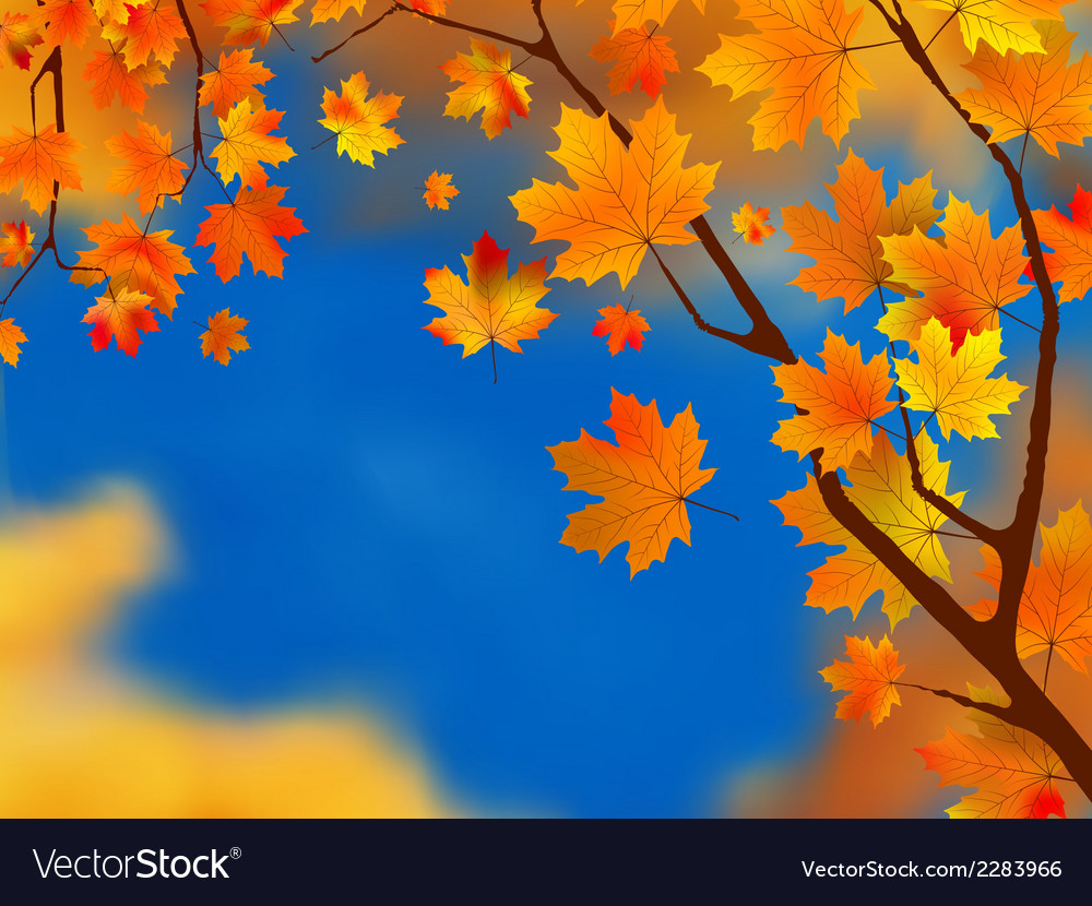 Red and yellow leaves against blue sky eps 8 vector | Price: 1 Credit (USD $1)