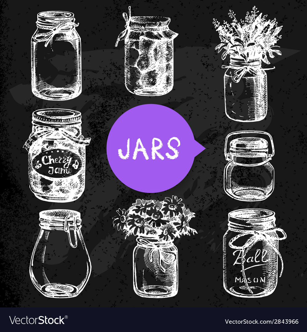 Rustic mason and canning jars hand drawn set vector | Price: 1 Credit (USD $1)