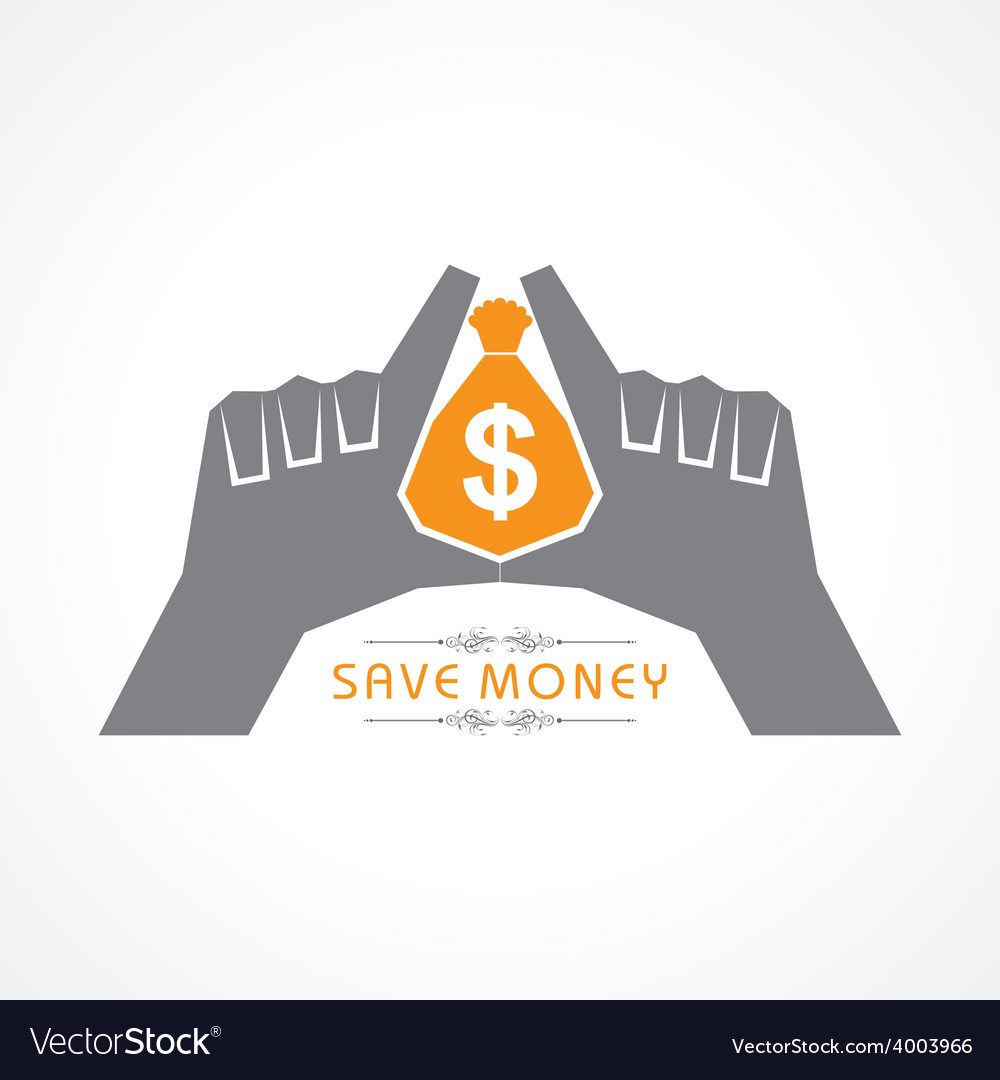 Save money concept - hands protecting bag of money vector | Price: 1 Credit (USD $1)