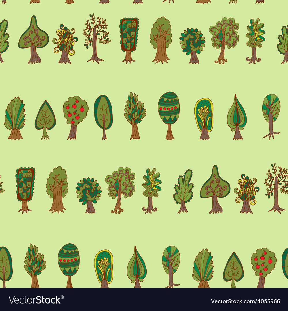 Seamless hand-drawn pattern with doodle forest vector   Price: 1 Credit (USD $1)