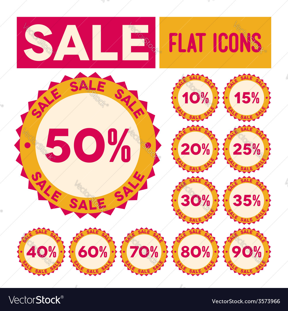 Set of flat sale labels vector | Price: 1 Credit (USD $1)