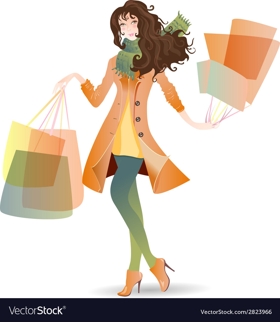 Shopping day girl in spring vector | Price: 1 Credit (USD $1)