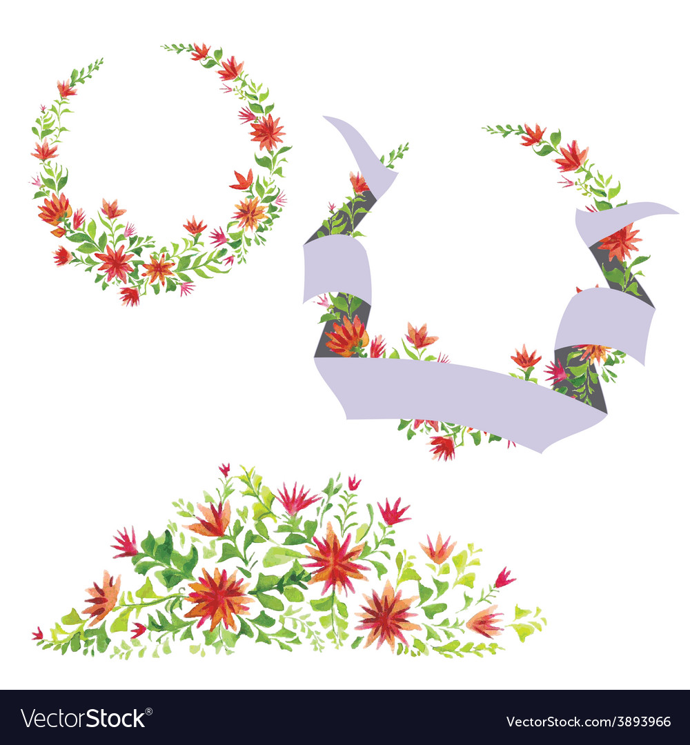 Watercolor beautiful flowers with leaves vector | Price: 1 Credit (USD $1)