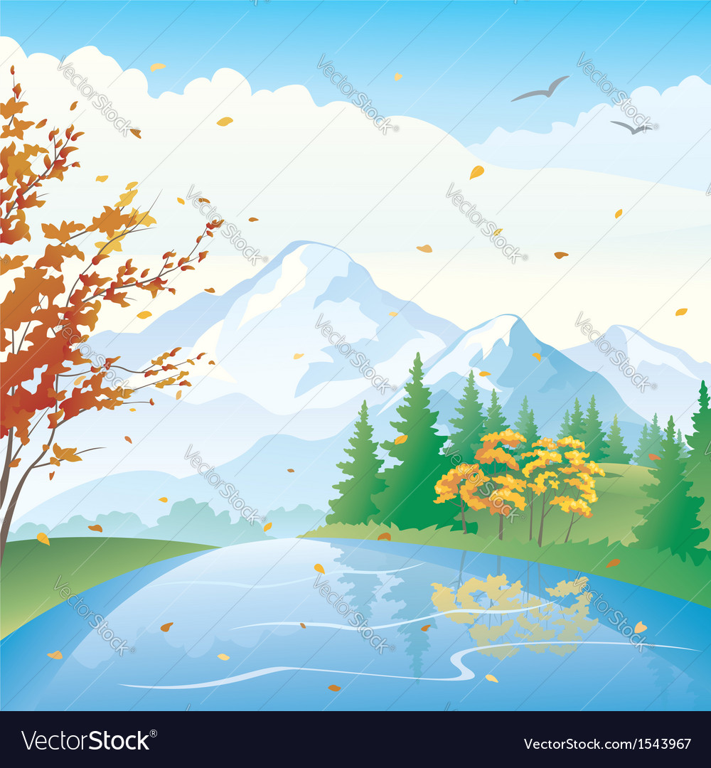 Autumn lake vector | Price: 1 Credit (USD $1)