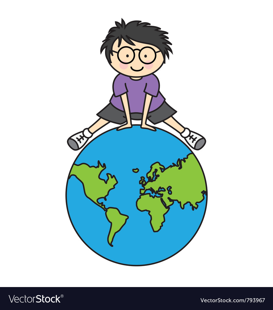 Boy with globe vector | Price: 1 Credit (USD $1)