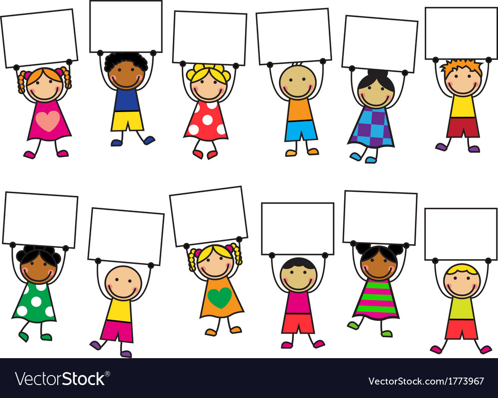 Cartoon kids with placards in their hands vector | Price: 1 Credit (USD $1)