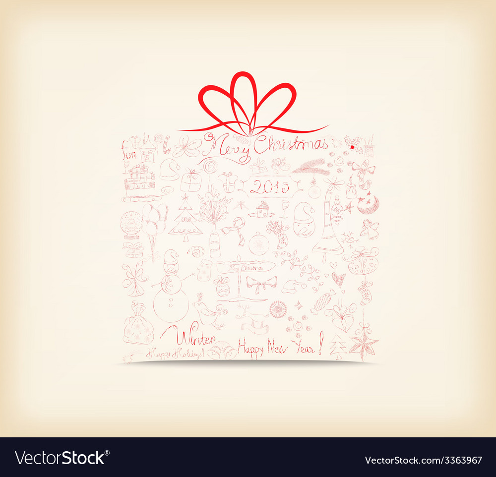 Christmas gift ornament hand drawn icon vector | Price: 1 Credit (USD $1)