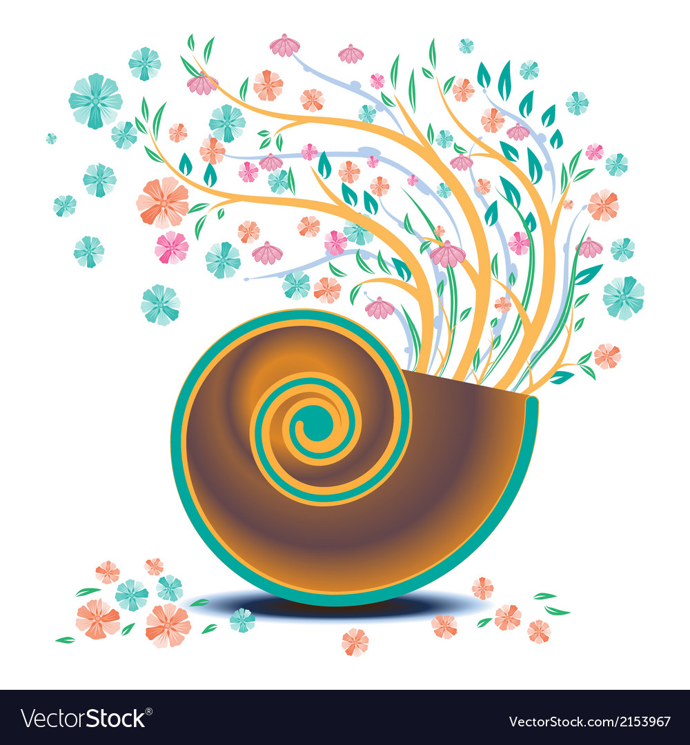 Flower background flower in shell vector | Price: 1 Credit (USD $1)