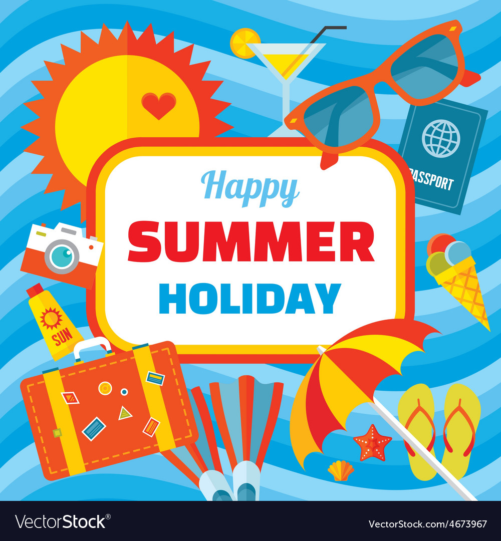 Happy summer holiday - creative banner vector | Price: 1 Credit (USD $1)