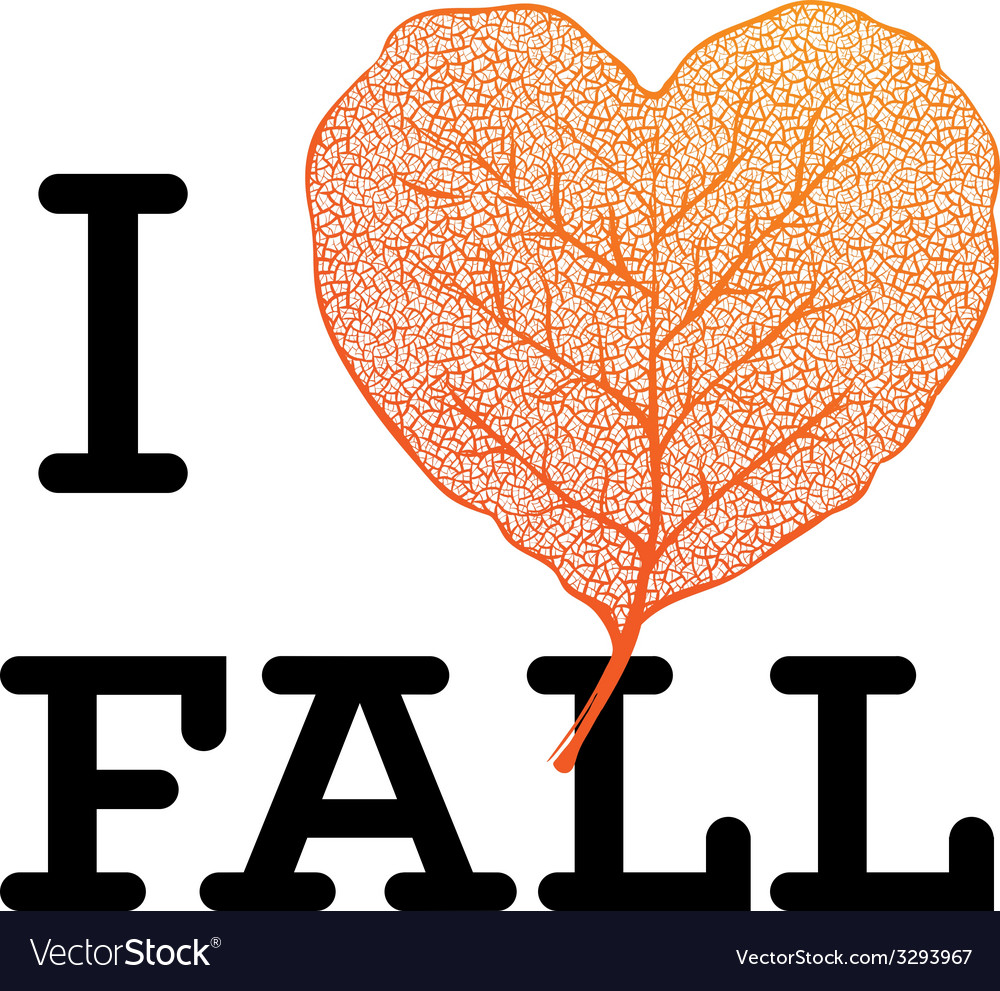 I love fall - autumn sale poster with leaf heart vector | Price: 1 Credit (USD $1)
