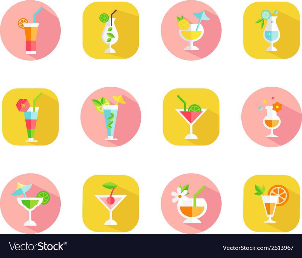 Icons of tropical cocktails vector | Price: 1 Credit (USD $1)