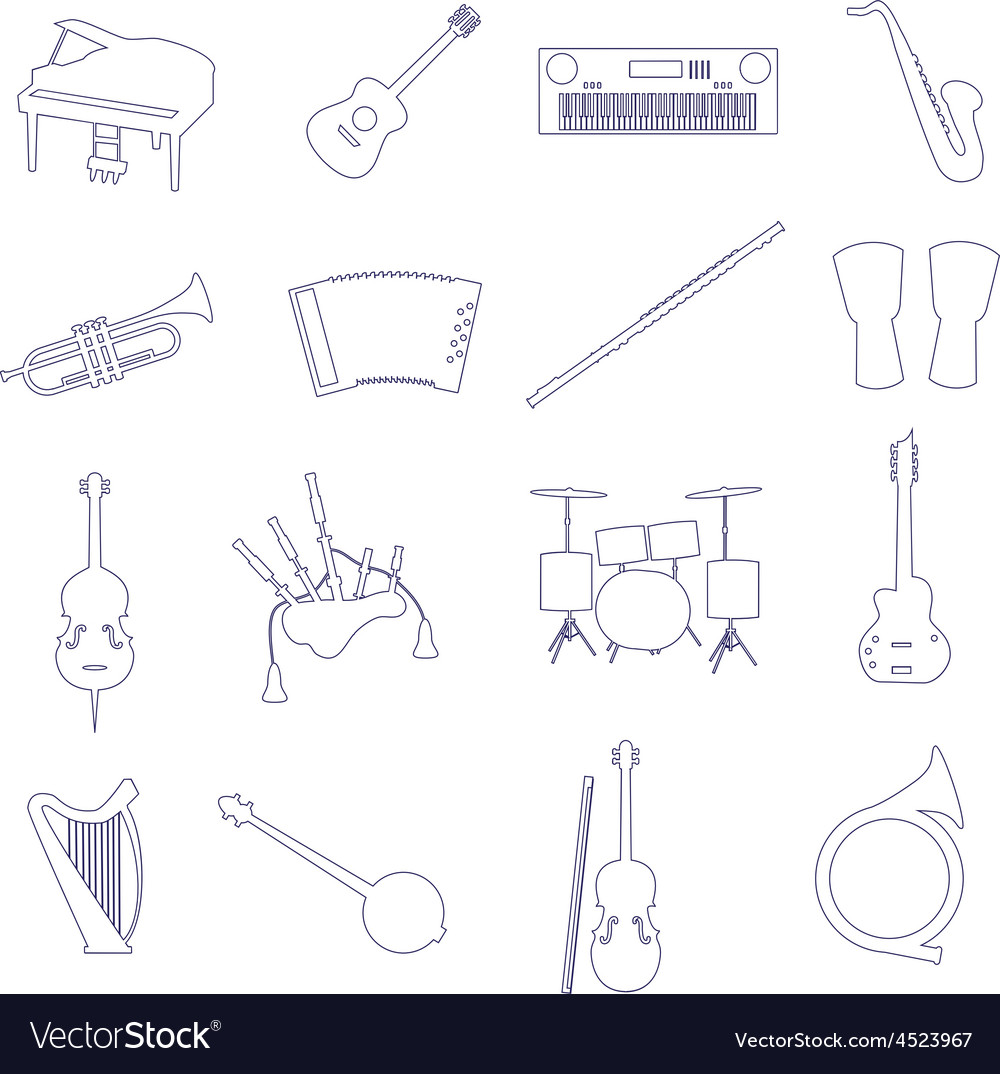 Musical instruments outline icons set eps10 vector | Price: 1 Credit (USD $1)