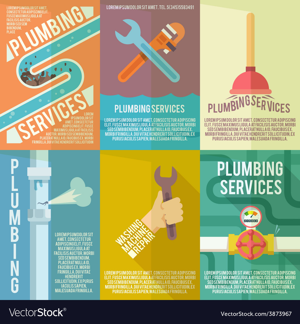 Plumbing icons composition poster vector | Price: 1 Credit (USD $1)