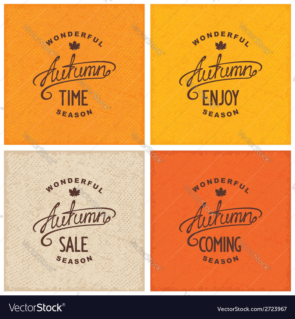 Set of vintage autumn designs vector | Price: 1 Credit (USD $1)