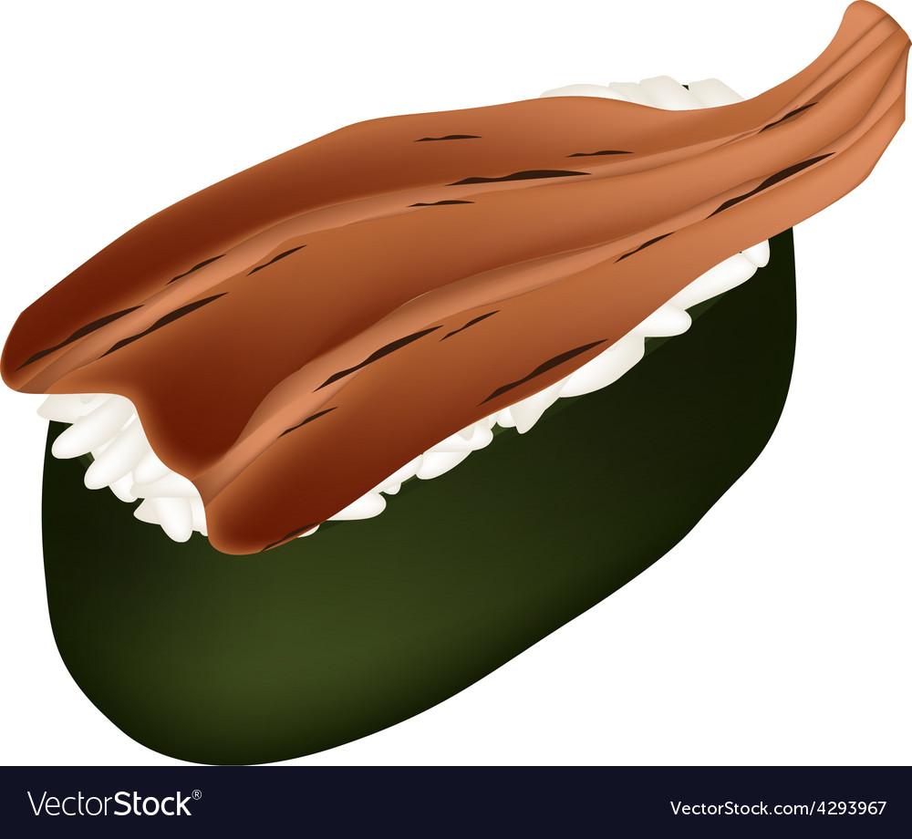Smoked eel sushi or unagi sushi on white vector   Price: 1 Credit (USD $1)