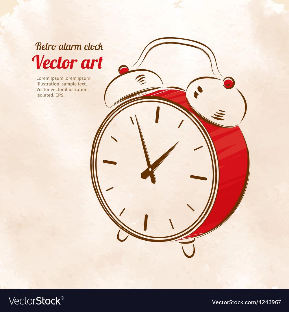 Vintage alarm clock vector | Price: 1 Credit (USD $1)