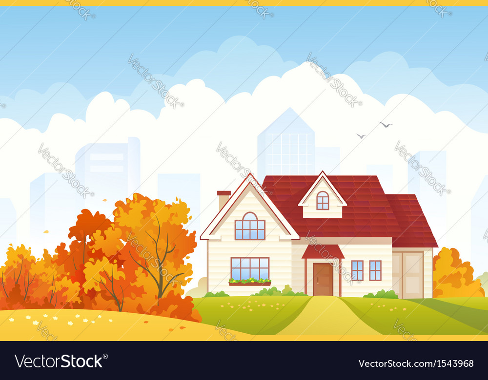 Autumn cottage vector | Price: 1 Credit (USD $1)