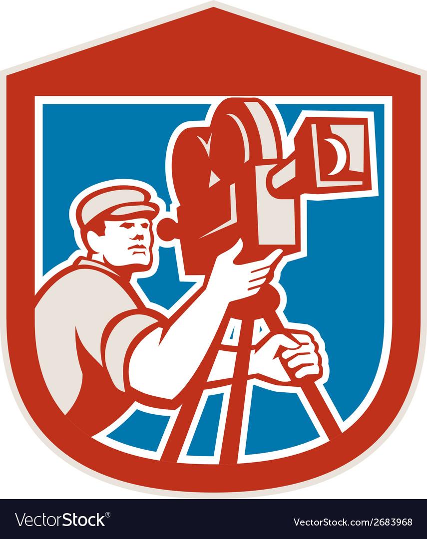 Cameraman vintage film movie camera shield retro vector | Price: 1 Credit (USD $1)