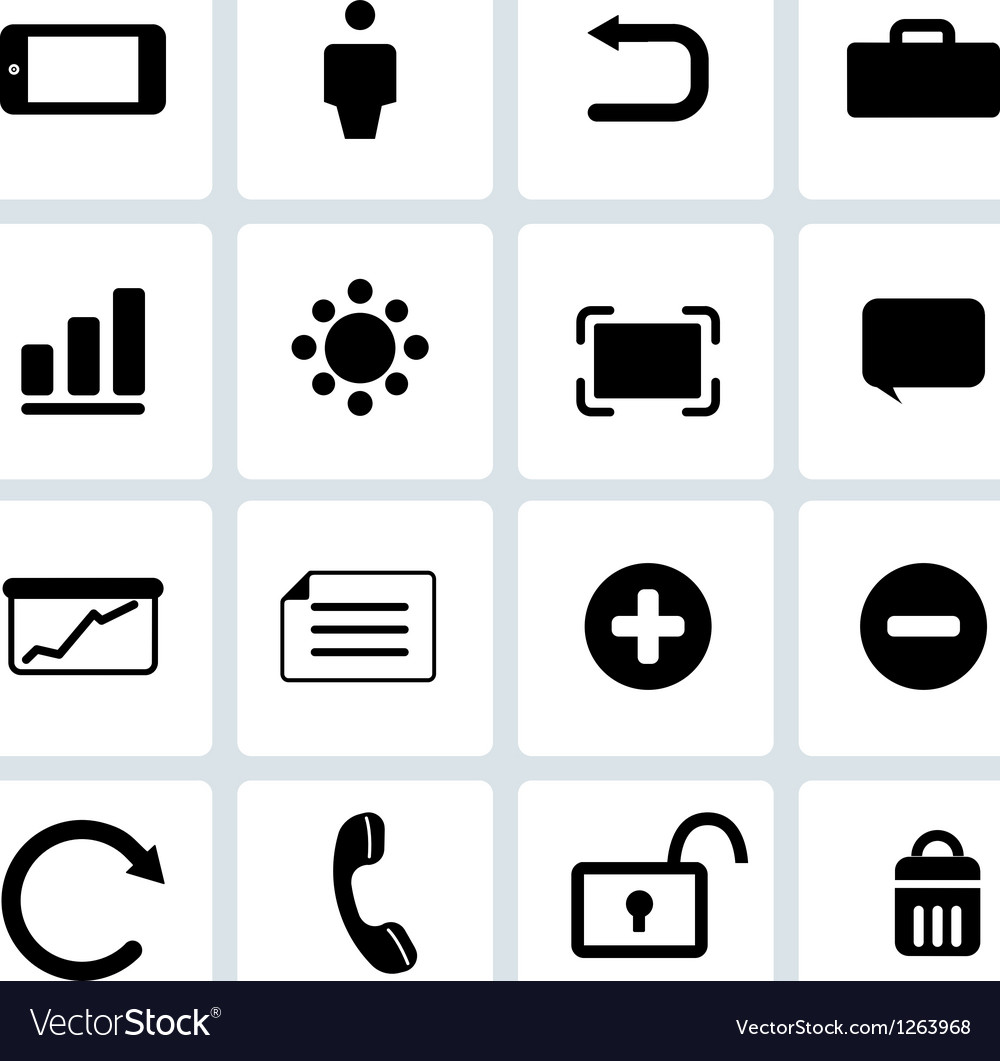 Clean black web icons set 2 vector | Price: 1 Credit (USD $1)