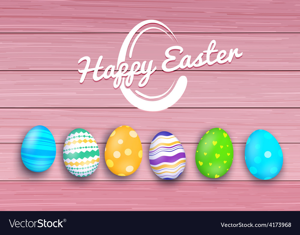 Easter colored eggs on rustic wooden planks vector | Price: 1 Credit (USD $1)