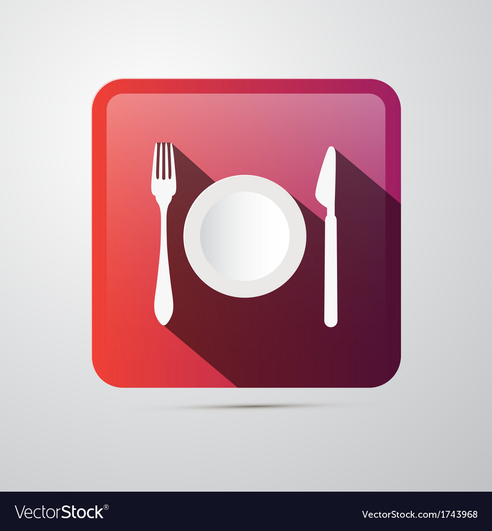 Eating icon fork plate and knife vector | Price: 1 Credit (USD $1)