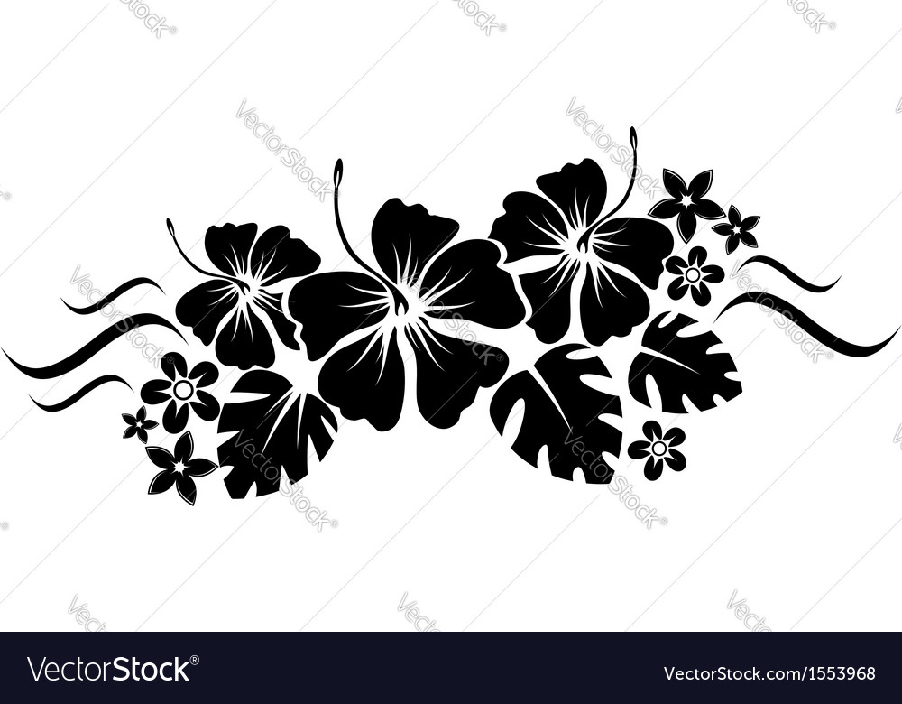 Floral border silhouette vector | Price: 1 Credit (USD $1)
