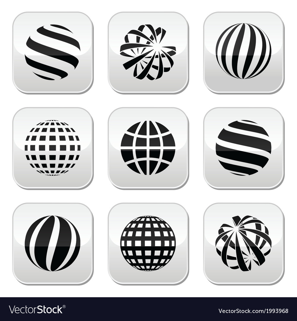 Globe sphere earth buttons set vector | Price: 1 Credit (USD $1)