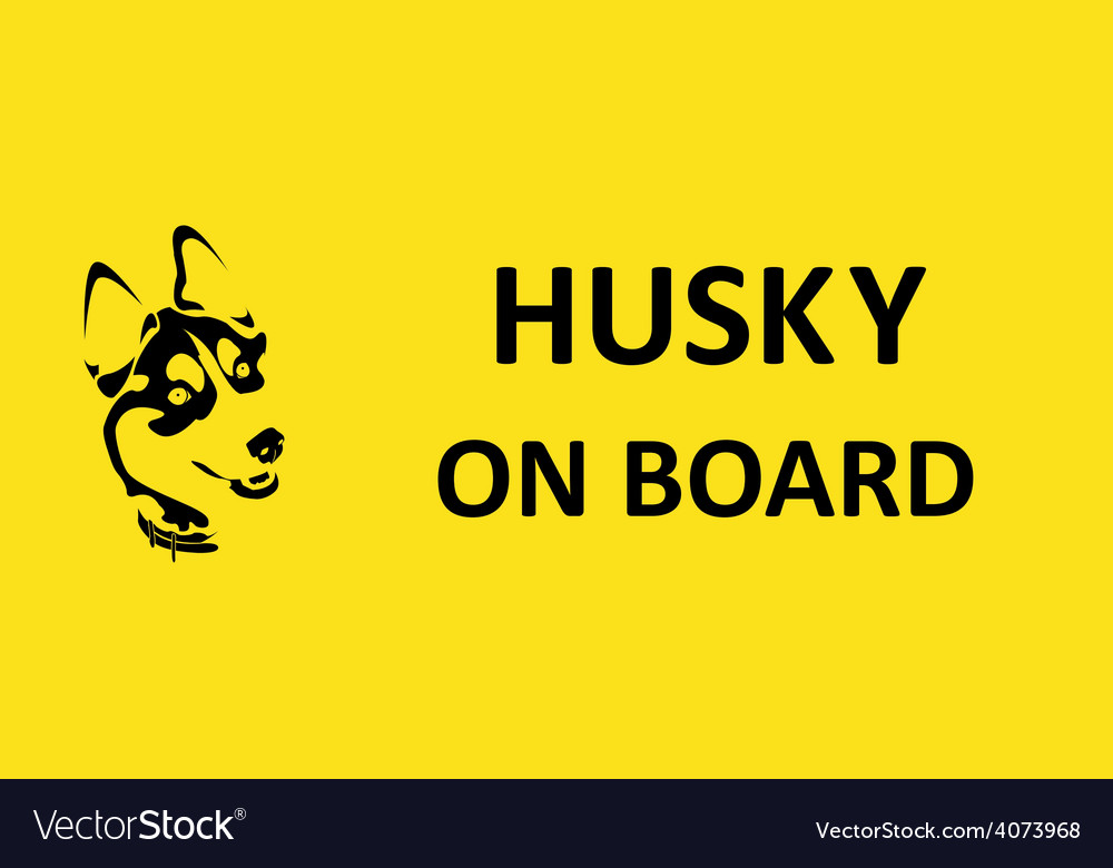 Husky on board sticker on the car vector | Price: 1 Credit (USD $1)