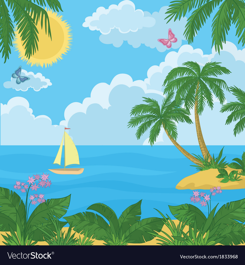 Landscape island with palm trees and ship vector | Price: 1 Credit (USD $1)