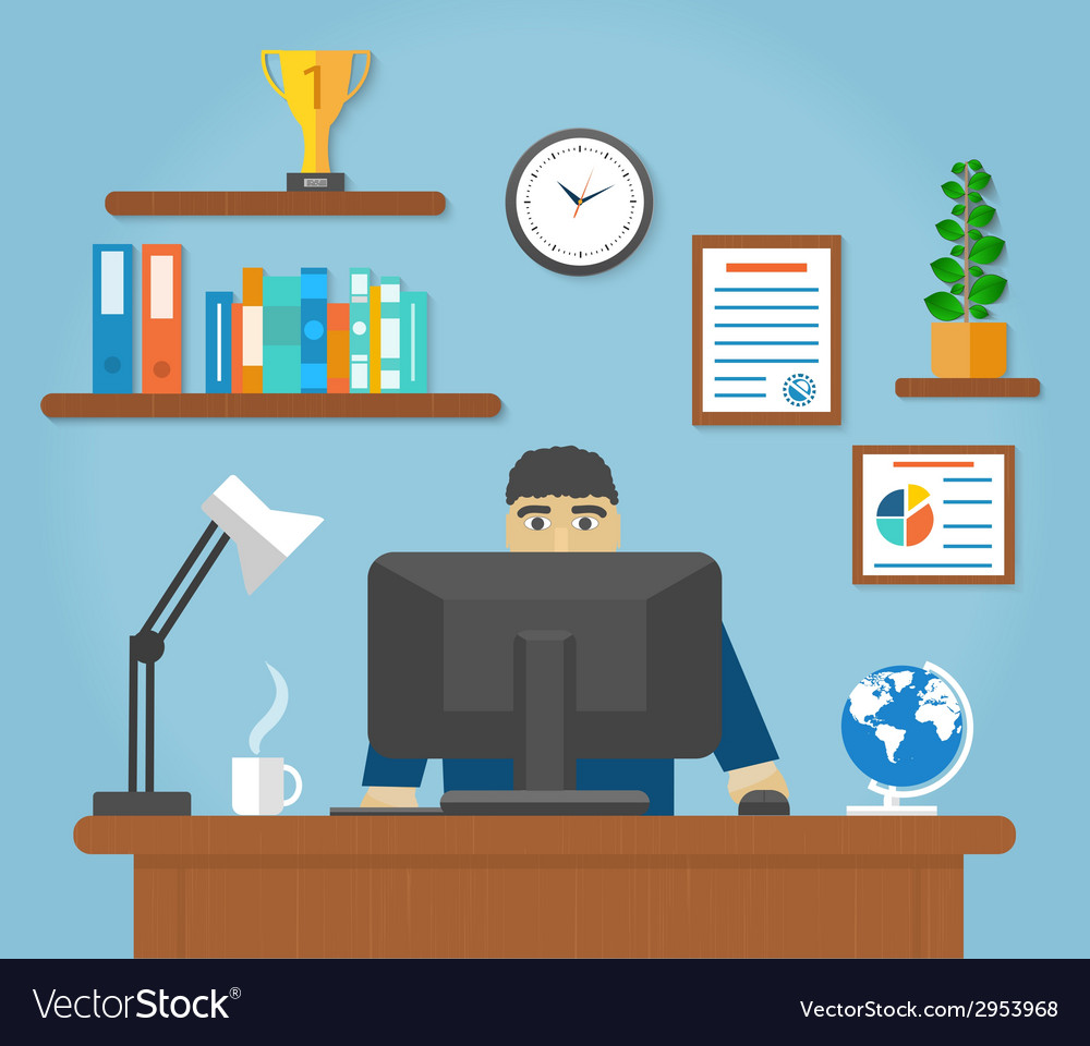 Man sitting on chair at table front of computer vector | Price: 1 Credit (USD $1)
