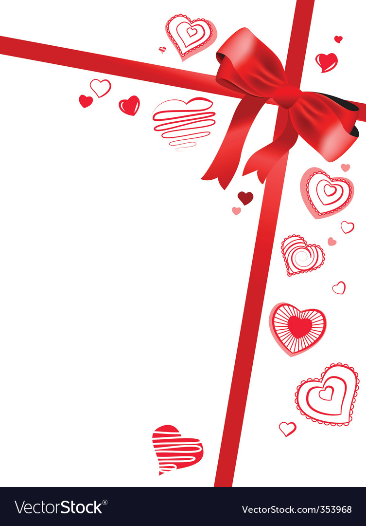 Red bow with hearts vector | Price: 1 Credit (USD $1)