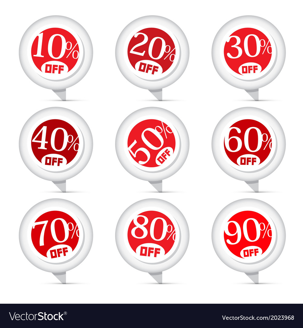 Red discount stickers labels set vector | Price: 1 Credit (USD $1)