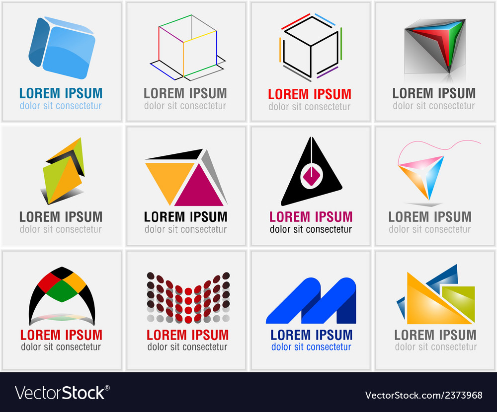 Set of twelve abstract icons for business branding vector | Price: 1 Credit (USD $1)