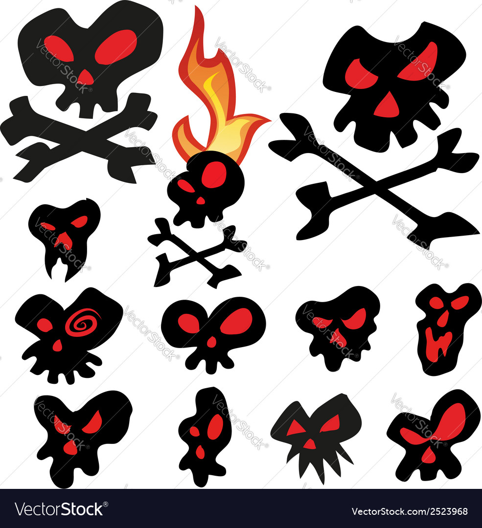 Skull cartoon set vector | Price: 1 Credit (USD $1)