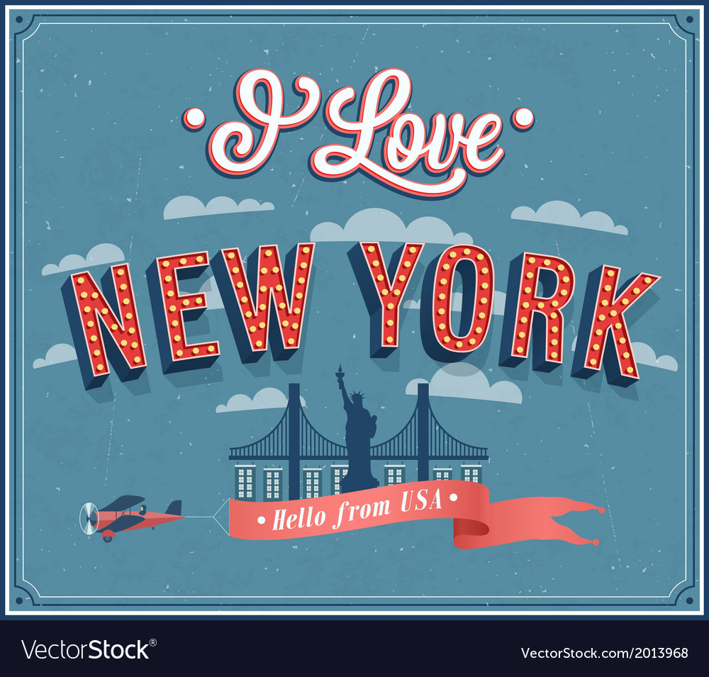Vintage greeting card from new york - usa vector | Price: 1 Credit (USD $1)