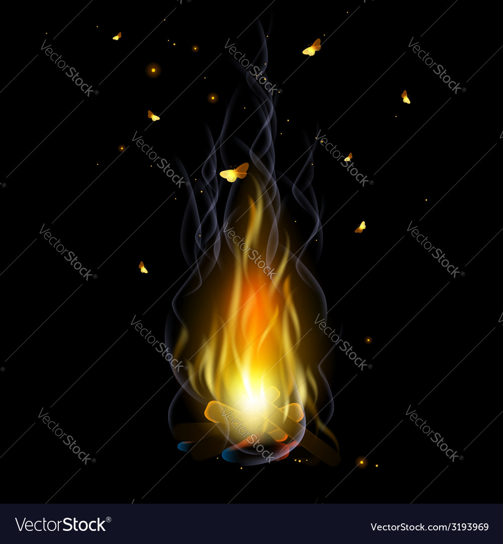Bonfire with sparks vector